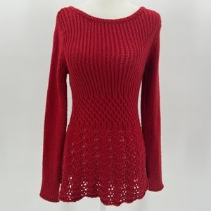 Anthropologie Guinevere Wool Blend Red Sweater XS
